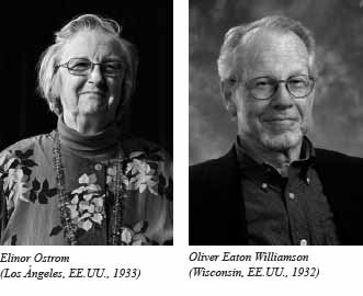 Foto: Elinor Ostrom y Oliver E. Williamson